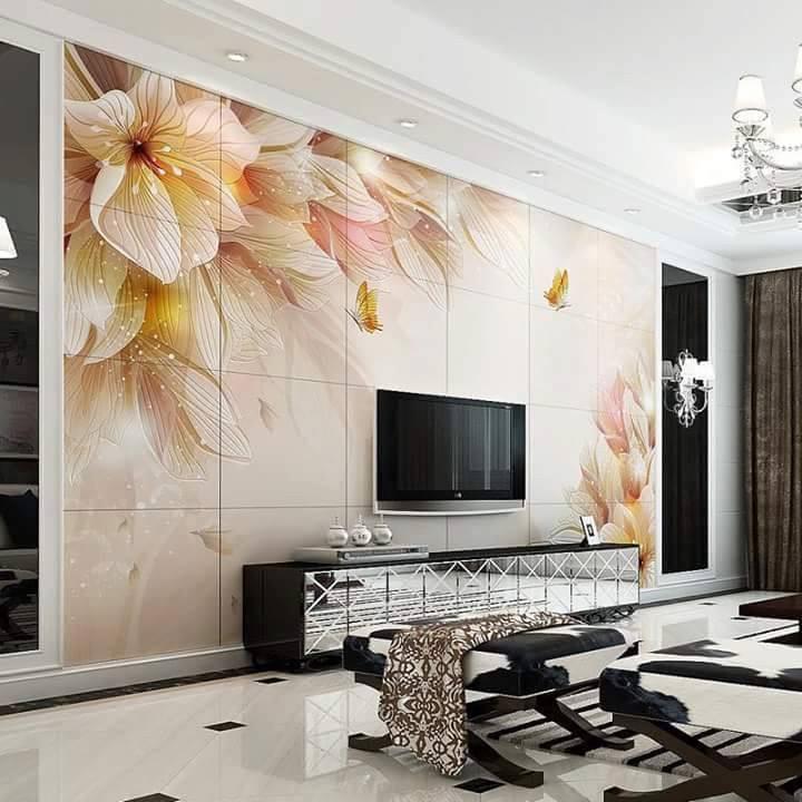 gạch trang trí phòng khách