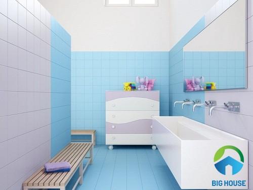 Gạch ốp tường màu xanh nước biển 4