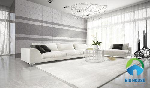 4 Cách phối màu gạch ốp tường và lát nền phòng khách hiệu quả cao