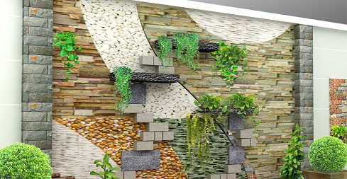 gạch ốp tường giếng trời 2